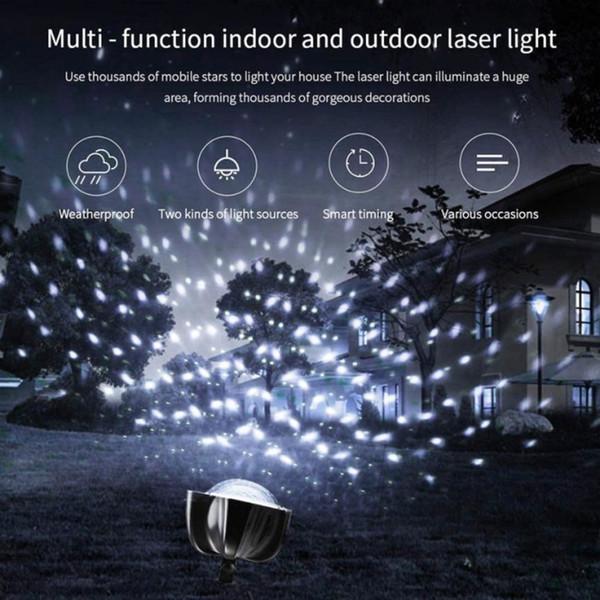 LED Film Projector Light Rotating White Snowflake Pattern Lawn Garden Lamp Outdoor IP65 Holiday Decor EU/US/UK Plug