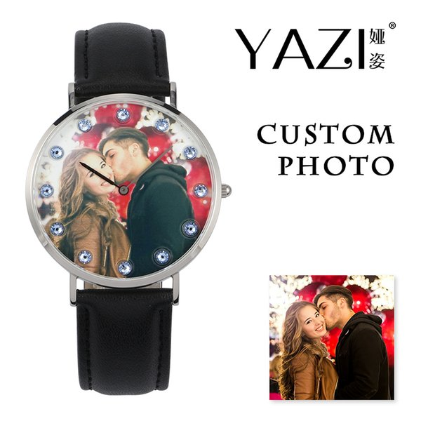 YAZI Private Custom Watch Photo Printed in Dial Watch Men Birthstone Scale Black Genuine Leather Watches Women Lovers Souvenir