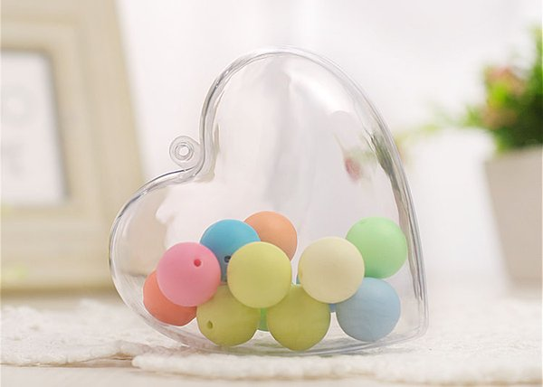60pcs 6.5/8.5cm Clear Candy Ball Box Plastic Heart Ornament Gift for Christmas Wedding Party Decor