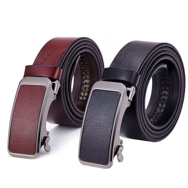 100PCS / LOT Automatic Buckle Luxury Designer Men Belt Casual Solid Color High Quality Male Leather Belt Cintos