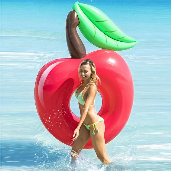 120 cm Dev Kırmızı Kiraz Yüzme Halka Elma Havuzu Şamandıra Yetişkin Su Parti Şişme Oyuncak Hava Maress Plaj Şezlong boia, HA008