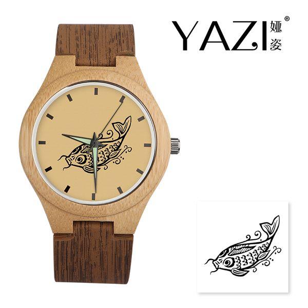Yazi DIY Holz Uhr Fisch Lucky Logo Quarzuhr Natürliche Bambus Holz Fall Armbanduhren Holz Streifen Band Geschenk Für Freund