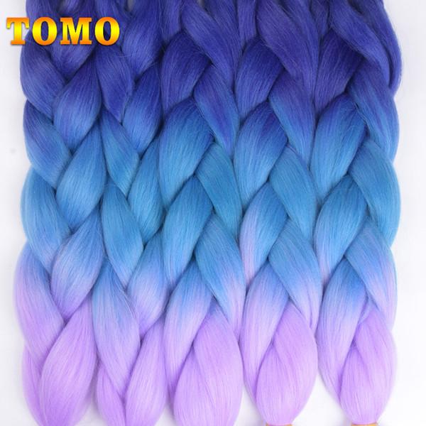 best selling TOMO 24Inch 100g pack 2 3 4-tone Ombre Kanekalon Jumbo Braids Hair Extensions Synthetic Crochet Braiding Hair Bulk 1 Pcs Lot