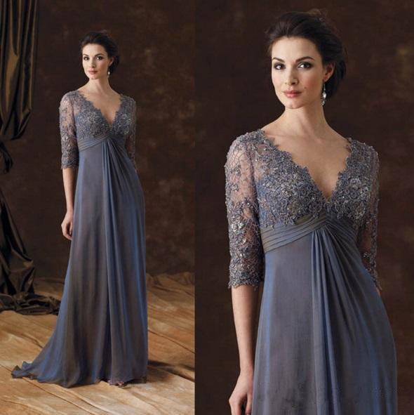 Vintage Chiffon Lace Mother Of The Bride Dresses V Neck Half Long ...