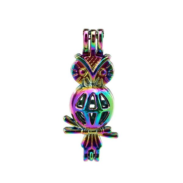 10pcs/lot Rainbow Color Cute Owl Pearl Beads Cage Locket Pendant Diffuser Aromatherapy Perfume Essential Oils Diffuser Floating Pom