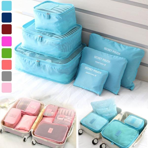 6Pcs / set Borse da viaggio Custodie impermeabili Vestiti Imballaggio Cube Bagagli Organizer Pouch portatile Doppia cerniera NNA362