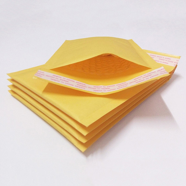 giallo Kraft Paper Bubble corrieri 110 * 130mm Buste Buste Mailer Buste dorate autosigillanti Buste postali Buste per imballo postali