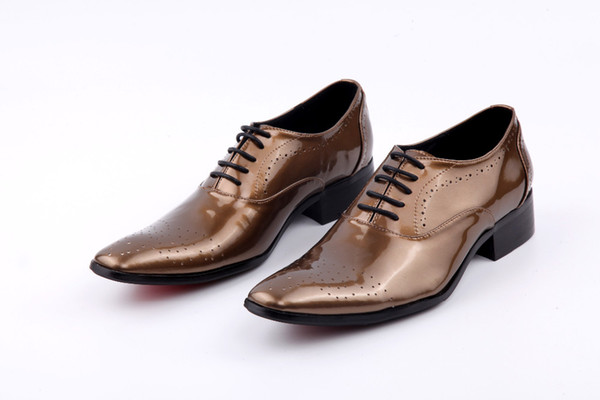 Men's Evening Party Wedding Shoes 2018 Autumn Mens Handmade brown Patent leather Man Shoes Lace Up Oxford Men Dress Shoes