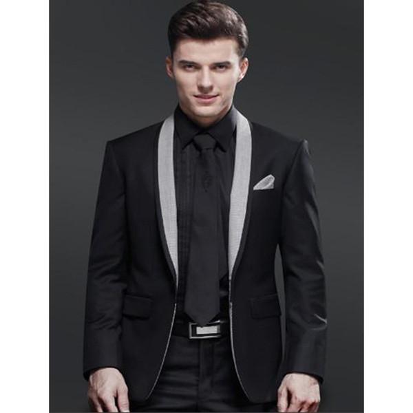 2017 neue Schal Kragen Schwarz Groomsmen Hochzeit herren Anzüge Elegante Männer Formale Party Smoking Yong Männer anzug (jacke + Pants + Tie)