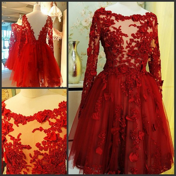 Red Lace Long Sleeve Pageant Evening Dresses Women's Knee Length Ball Gown Bridal Gowns Special Occasion Prom Bridesmaid Party Dress
