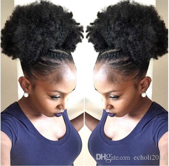 Kids Afro Ponytail Hair Extension Weave Braid Hairstyle Kinky Curly Short High Natural Puff Human Hair Extension Clip In 120g Natural Color Short Hair