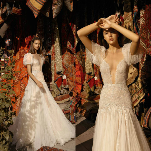 Liz Martinez 2019 Wedding Dresses Vintage Lace Puff Sleeves Deep V Neck Bridal Gowns Illusion Tulle Wedding Dress Cheap