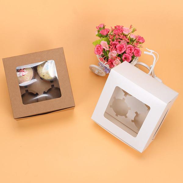 White Brown Kraft Paper 4 Cupcake Boxes With Window Food Packaging Boxes