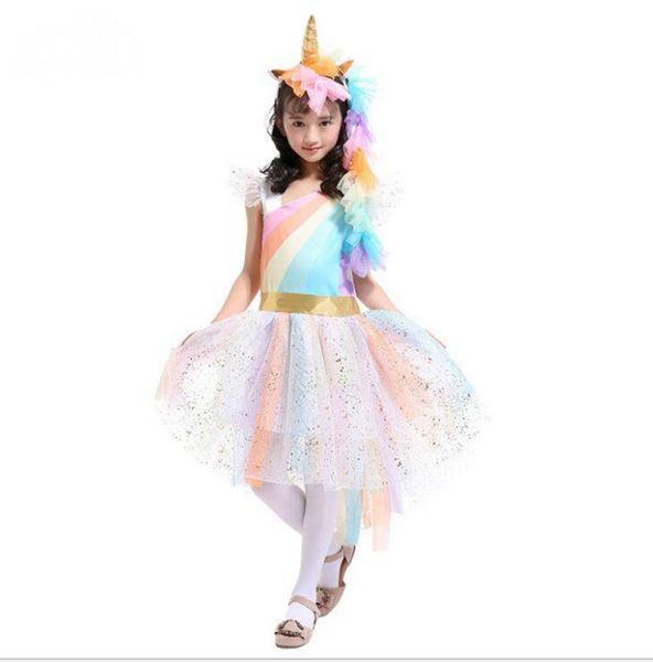 Unicorn Girls Dresses Rainbow Princess Dress Licorne Bandeau + Angel Wings + Dentelle Tutu Filles Robe 3 Pcs Costumes Cosplay Vêtements Sets YL750