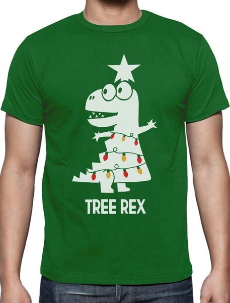 Ağaç Rex Komik T-Rex Dinozor Noel T-Shirt Hediye Fikir Komik ücretsiz kargo Unisex Rahat tee hediye