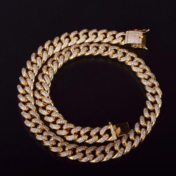12mm Iced Out Zircon Cadena de collar cubano Hip hop Joyería Oro Plata Material de cobre CZ Corchete Collar para hombre Enlace 18-28 pulgadas