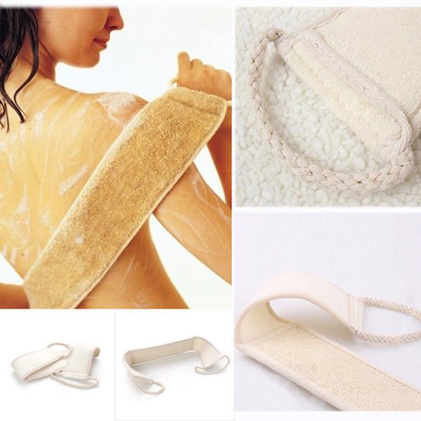 Esponja exfoliante natural del estropajo de la lufa para la ducha para los hombres y las mujeres para el acné trasero con las manijas del paño