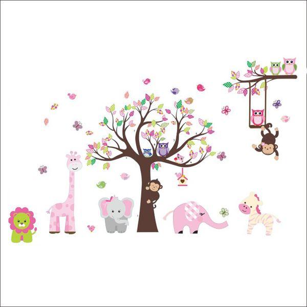 Arc en ciel Fox Jungle Zoo Avec Hibou Singe Wall Decal Papier Peint Autocollant Mural Décor Pour Enfants Chambre Pépinière Décoration de La Maison
