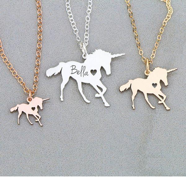 Bakır unicornio Kolye Büyülü Licorne Kadınlar Takı Oymak Bazı Mektuplar Hediye anneler Günü Için Damla Nakliye Kabul YP6080