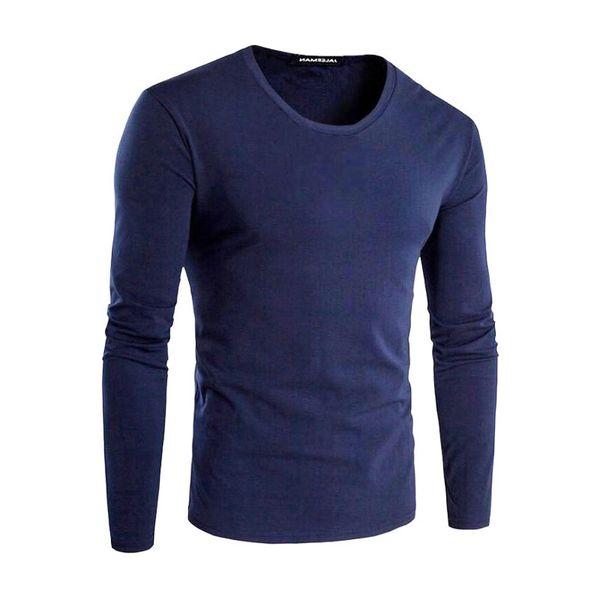 Men's T-Shirts Cotton Elements 5XL O-Neck Vegan Casual Tops Solid Tshirt Male Long Sleeve Men T shirt Mens Clothing 2018