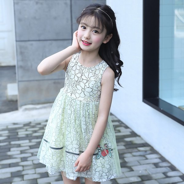 7ca4de2a9386 2019 Cotton Lace Girl Dress Kids 2018 Summer New Embroidered ...