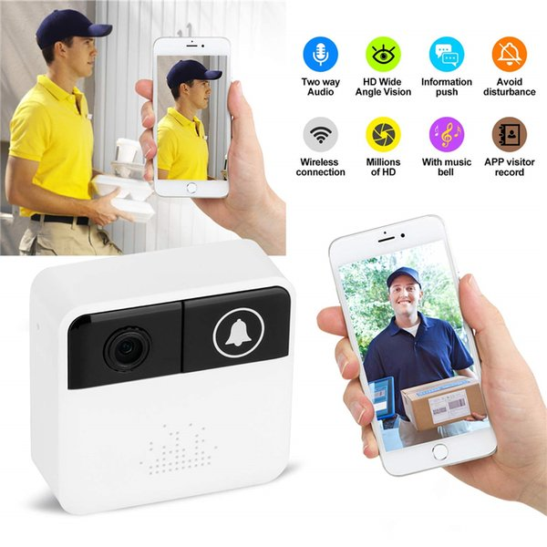 32GB Smart Video Door HD 720P Wireless WiFi Ring Doorbell Video Camera Home Security Camera Real-Time Two-Way Talk and Video for IOS Android