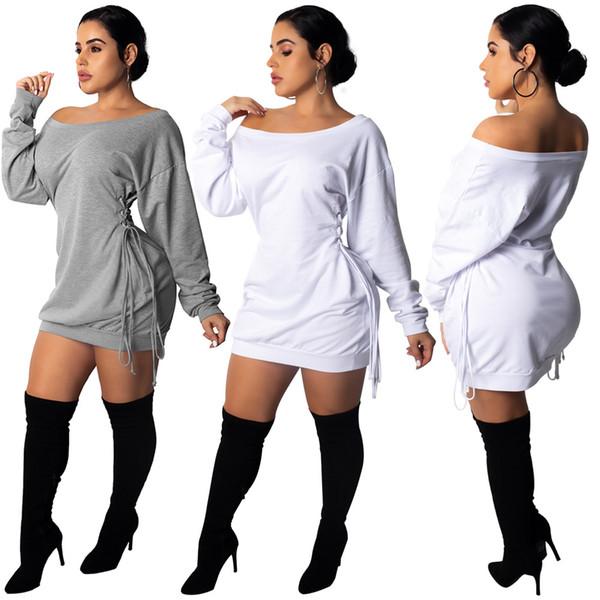 Kadın Batwing Kollu Mini Parti Elbiseler 2018 Katı Seksi Dantel Up Bel Kapalı Omuz Uzun Kollu Gevşek Kokteyl Kulübü Bandaj Bodycon Elbise