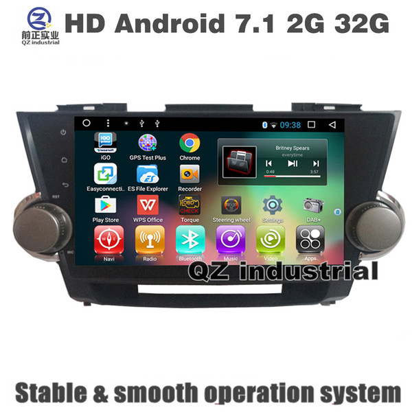 QZ industrial HD 10.1inch Android 7.1 T3 for Toyota highlander 2007-2013 Car DVD player with 3G 4G WIFI GPS BT navigation Radio RDS map