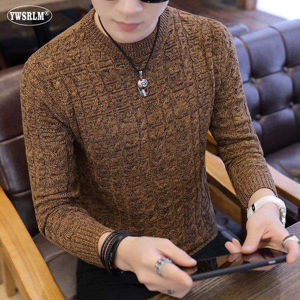 2018 autumn winter men's Sweater o neck knitted slim fit pullover men's version casual solid color bottoming sweater 3XL MY869