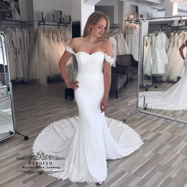 Elegant Off Shoulder Mermaid Wedding Dress Sexy Backless Full Lace 2018 Italy Cheap Long Vintage Country Bridal Gowns Vestidos De Novia