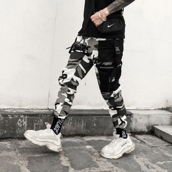 Idées romantiques Couleur Camo Cargo Pants 2018 Hommes Fashion Baggy Tactical Pantalon Hip Hop Casual Coton Multi Poches Pantalons Streetwear