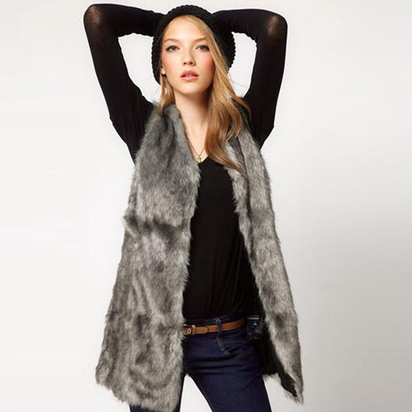Autumn Women Jackets Faux Fur Jacket Coats Sleeveless Winter Body Warm Coat Long Female Outwear With out Belts Coat Jacket Tops