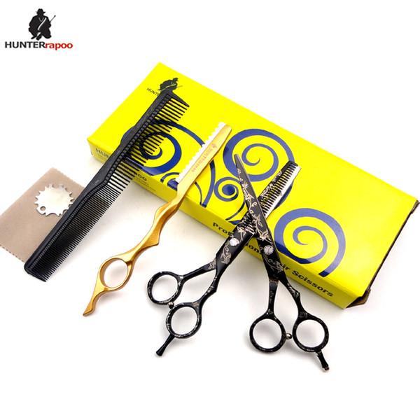 "HUNTERrapoo 6"" 5.5"" inch HT9140 Barber Scissors Kit Hair Cutting Scissor and Thinning shear for hairdresser baby scissor"