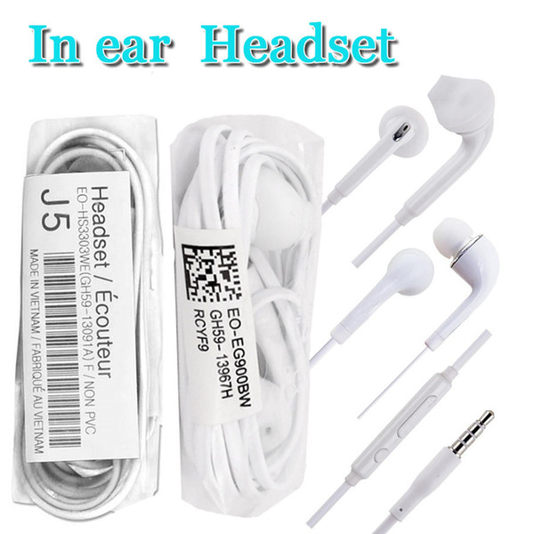 top popular factory price J5 S6 in ear wired earphone 1.2m 3.5mm inear headphones with voice control and build-in mic for samsung s8 s9 plus earbuds 2021
