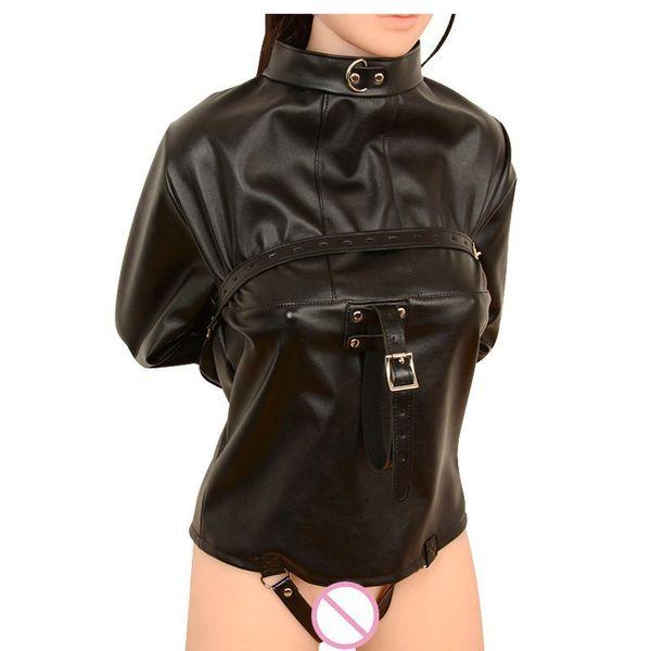 Sex Wear Leder Zwangsjacke BDSM Bondage Harness Gerade Jacke Sex Harness Körper Frauen Spielzeug Für Paare Clubwear Kostüm