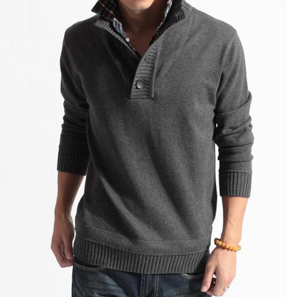 Nouveau Mode Hommes Chandails Tricotés Hommes Pull À Manches Longues Turndown Knitwear Manteau Casual Slim Pull Hommes Vêtements