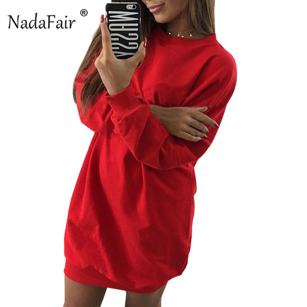 Nadafair 2018 nouveau o cou manches longues automne hiver robes femmes lâche casual mini pull robe femme sweat robe rouge
