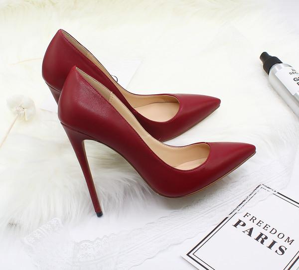 Chaussures de grande taille en cuir de créateur de mode 35-46 à bout pointu 8.5 10 12cm chaussures habillées multicolores mounth peu profondes semelle rouge