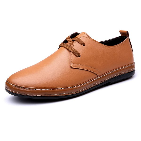 2017 Handmade Men Leather Oxfords Casual Shoes Soft Fashion Zapatos Hombres Lace-Up Men Shoes Factory Outlets H892