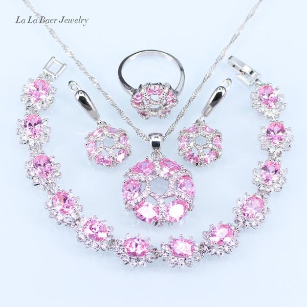 fuchsia rosa Farbe Silber Halskette und Ohrring Modeschmuck Set