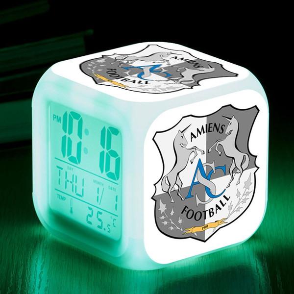 Ligue 1 Team Amiens SC LED Reloj despertador reloj despertador reveil enfant Reloj Fútbol Reloj digital Flash de color Relojes de mesa