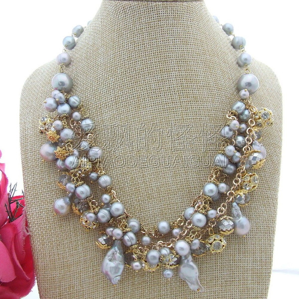 "N080130 18"" Gray Pearl Sea Shell Pearl Necklace"