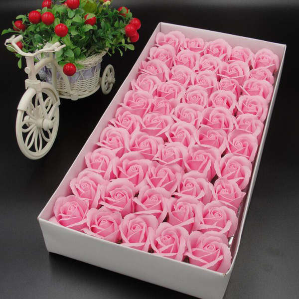 50PCS/Box Artificial Flowers Scrapbooking Rose Soap Flower Head DIY Gift For Valentine's Day Mother's Day Wedding Home Decor