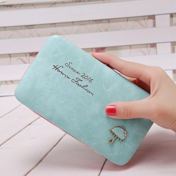 Wholesale- Cartoon Umbrella Pattern Ladies Long Wallet Phone Package Boxes Female Bag Women Leather Boxes Wallet Purse Card Holder Clutch