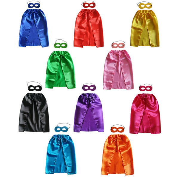 best selling Superhero cape 21inch * 27inch wholesale satin dyed fabric child favor cosplay cape halloween Christmas superhero cosplay clothing