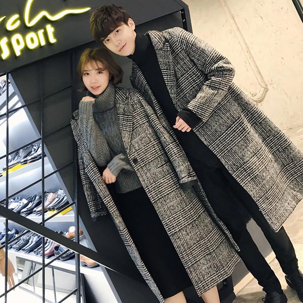 Couple manteau de laine automne et hiver nouvelle version coréenne de la longue section du manteau en laine pied de poule mâle