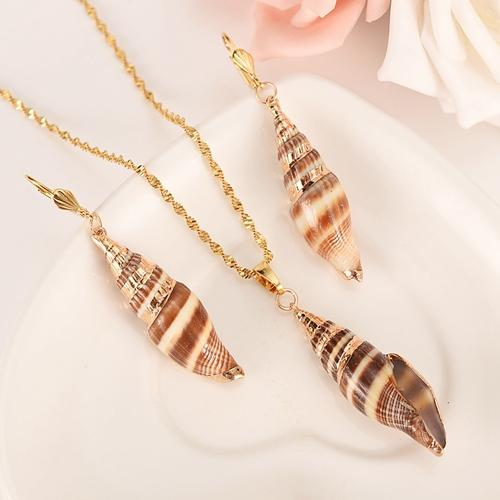 gold natural real shell long pendant Earrings Necklace jewlry Set Gold Color Wedding bridal Jewelry Sets For Women Gift