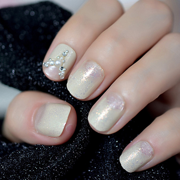 Small Size French False Fake Nails Tip 3D Gems Rhinestones Shimmer Colorful Glitter Salon Decorated Round Head Nail Tips