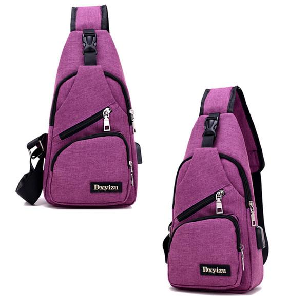 Fashion Unisex Chest Bag Trip USB Charging Pack Casual Sling Wallet Men Anti-theft Crossbody Bags Female Messenger Shoulder Bag