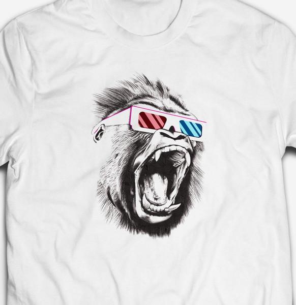 Смешные 3D горилла очки Обезьяна Обезьяна животное природа 100% хлопок T. V. футболка Tee смешно бесплатная доставка повседневная tee